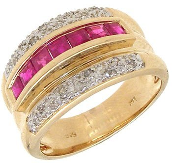 3258: 14KYG .93cttw Princess Ruby/Pave Dia Channel Ring