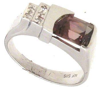 3260: 14KW Pink Tourmaline Free Form Dia Ring 742798