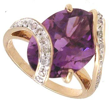 3282: 14KY 5.19ct Amethyst oval .16cttw Dia Ring 104454