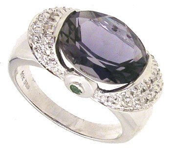 3284: 14KW 3.52ct Iolite Oval Dia Ring 114805