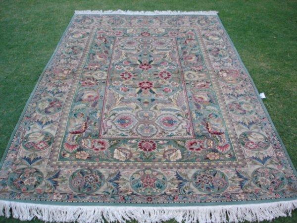 3299: Rugs Rare Green 300 KPSI New Pak Persian Rug 8 x