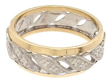 4250: 14KY 2 tone Etched Vintage Band