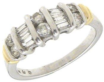 4251: 14KW .50cttw Diamond Bagguette Round Ring