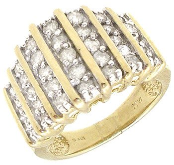 4252: 10KY 1cttw Diamond 7 row Channel set ring