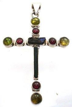 4256: SSliver Multi-Tourmaline and Garnet pendant