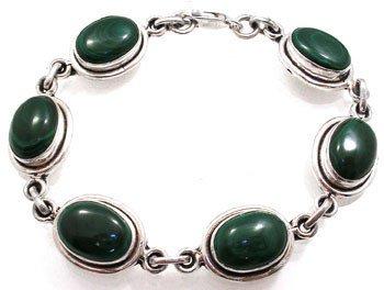 4258: SSilver Malachite Link Bracelet