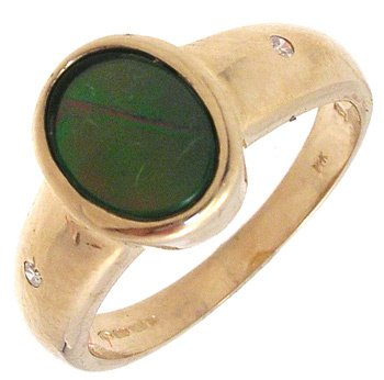 4261: 14KYG Ammolite Oval Dia Bezel Ring