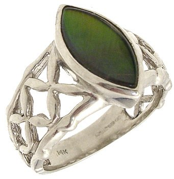 4262: 14WG Ammolite Marquise woven band Ring