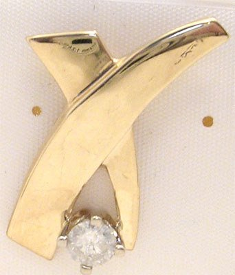 4263: 10KY.30ct Diamond X shape Slide/ Pendant