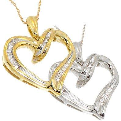 4264: 10KT .25Ct DIAMOND Baguette heart Pendant