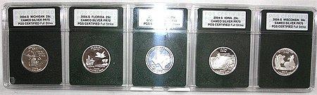 4274: 2004-S 5 State Cameo Quarters PR70 PGS CERTIF