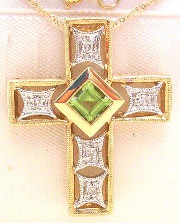 4550: 14KY Peridot Dia Cross Pendant