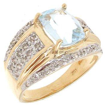 4554: 14KY 2.74ct Aquamarine Cushion .31ct Dia Ring