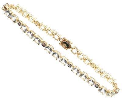 4555: 14KY 12ct Aqua marine .11 cttw Dia round bracelet