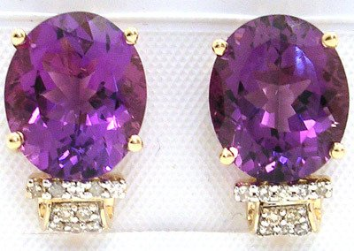 4559: 14KY 9.39ct Amethyst .23ct Dia Earring