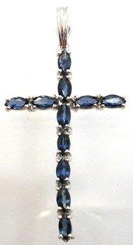4562: 14KW 1.33ct Sapphire Marq Cross Enhancer pendant