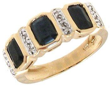 4563: 14KY 2.14ct Sapphire E-cut .04cttw Dia Ring