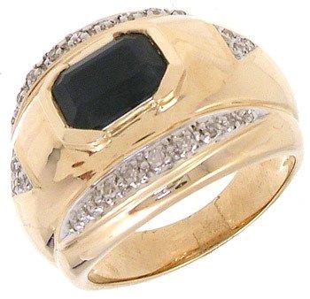 4564: 14KY 1.65ct Sapphire E-cut .16cttw Dia Ring