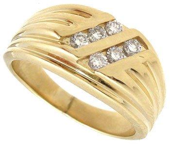 4567: 14KY .30cttw Diamond channel diagonal mans ring
