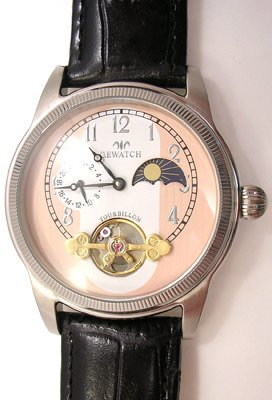 4572: OE action Black Leather automatic Circular watch