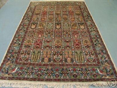 4648: Kashmir Silk & Wool Pile Cashmiri Rug 9x6