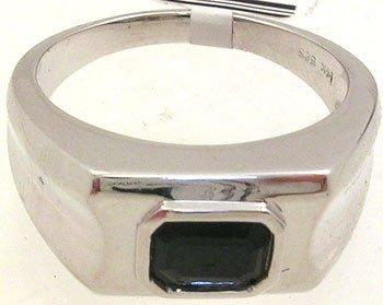 350: 14KW 1.23ct Sapphire e-cut Mens Ring
