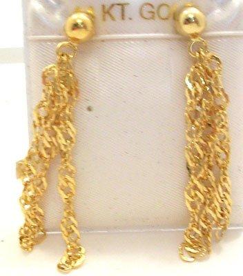 356: 14YG 3 strand twisted dangle earring