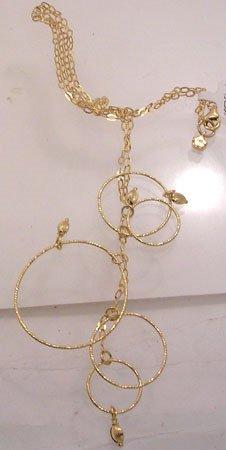 357: 14KY Italian Curb Circle Dangle Necklace