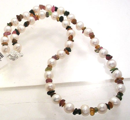 358: 8mm White Pearl Tourmaline Nugget Necklace