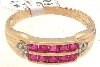 364: 14KY .65c Ruby princess chan dia band ring