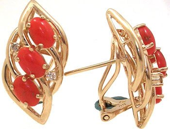 368: 14KY 5ct Coral Dia Earrings