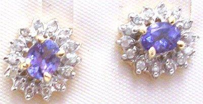 369: 14KY 1cttw Tanzanite oval dia flower stud earring