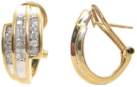 370: 14KY .50ct Diamond princess/rd Earring