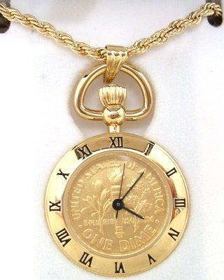 372: 22KT Plated Dime Coin Watch Pendant Vermeil Neckla