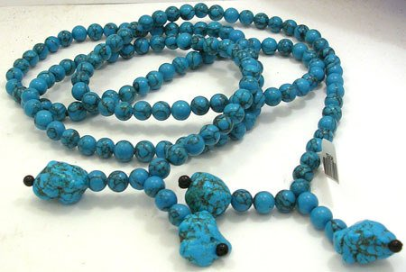 728: Howlite and Blue Turquoise 44inch wrap Necklace