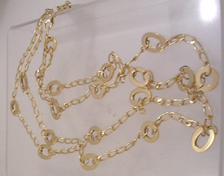 732: 14KY Italian designer circle oval link chain