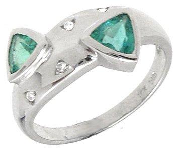 734: 14KW .67ct Columbian Emerald Trillion Dia Rin