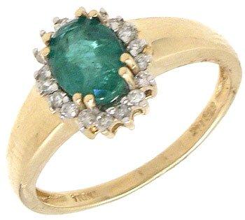 735: 14KY .75ct Brazilian Emerald .14ct Dia Ring