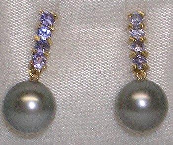 741: 14KY 8.5/9.5mm Tahitian Pearl Tanzanite earring