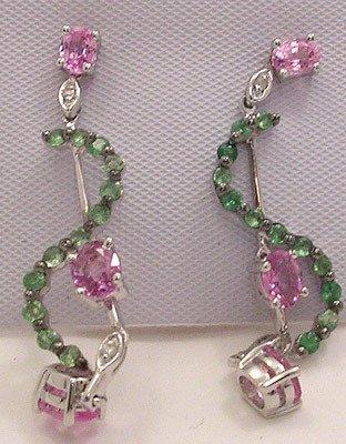 742: 14KW 2.05ct Multi-Sapphire .55ct Tsav Dia Earrings