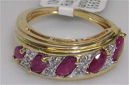 889: 10KY 1ct Ruby Marquise Diamond band