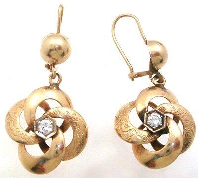 5377: 14KY .20cttw Diamond Flower Dangle Earrings