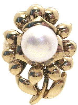 5382: 14KY 7mm white pearl flower ring