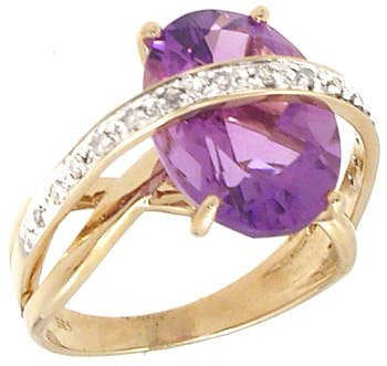5384: 14KY 5.45ct Amethyst .13cttw Dia Ring