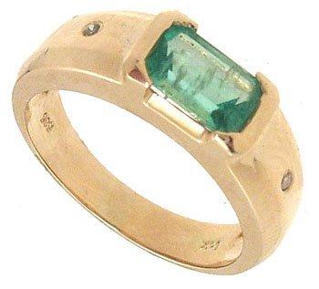 5388: 14KY.90ct Emerald E-cut Dia Ring