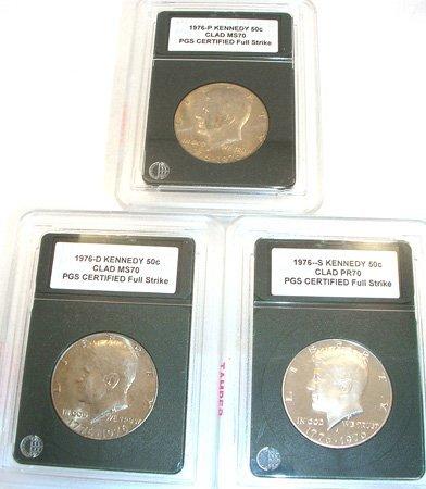 5401: 1976 Kennedy Half Dollar P.G.S. 3 Coin Collection