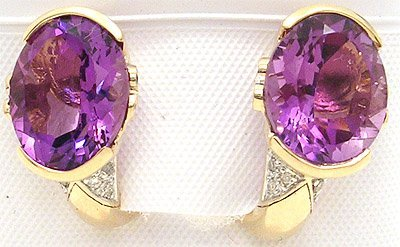 5406: 14KY 8.21ct Amethyst .16ct Dia Earring