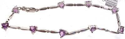 5001: 14KW 3cttw Amethyst Heart Diamond Bracelet