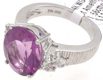 5002: 14KW 3.97ct Amethyst Oval .56cttw White Sapp Ring