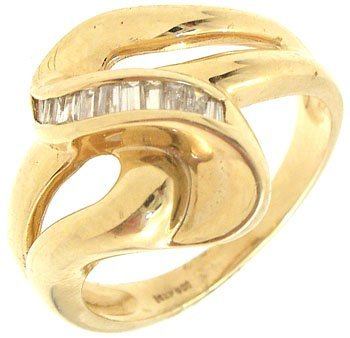 5006: 14KY .13ttw Diamond channel knot band ring